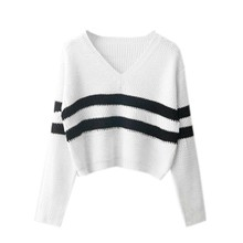 Autumn Women Striped Pullovers V-neck Long Sleeve Knitted Solid Sweatshirt #Y63