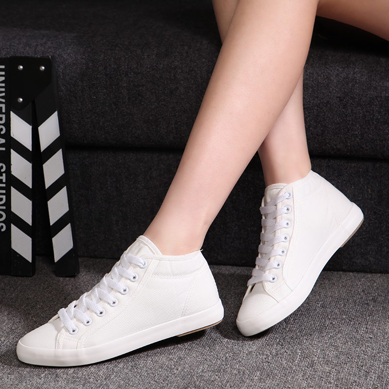 250dba87d16c Women Sneakers 2019 New Spring Brand Casual Shoes For Women High Top Canvas Shoes  New Style White Korean Fashion Flat Shoes-in Women's Flats from Shoes on ...