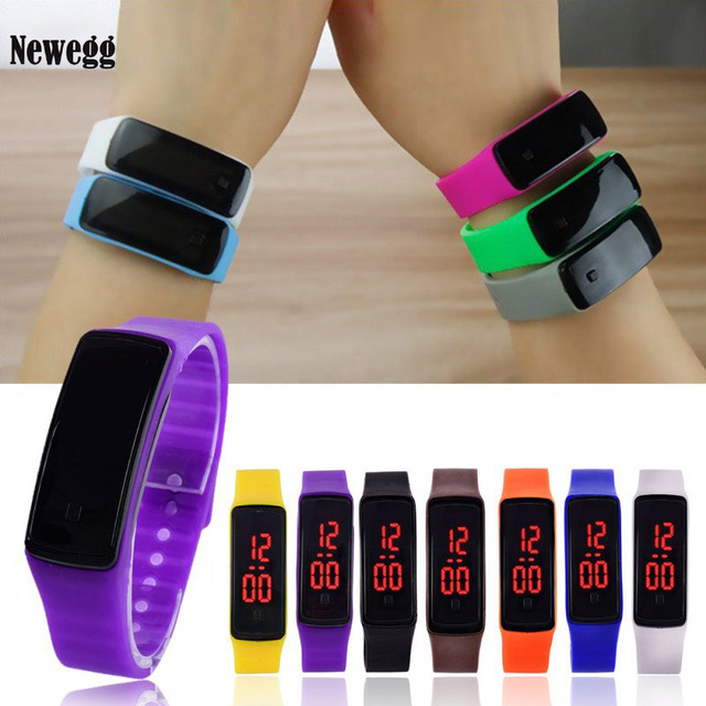 New LED Sports Silicone Watchband Men Digital Screen Quartz Watch Women Dress Wr