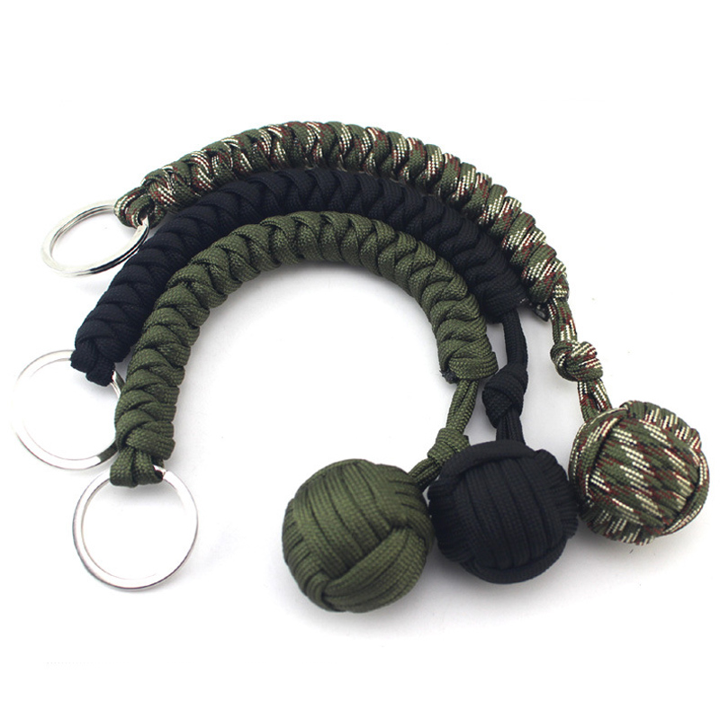 Outdoor Survival Kits Strand Stainless Steel Parachute Cord With Ball Pendant Keychain Key Ring Climbing Camping Umbrella Rope03