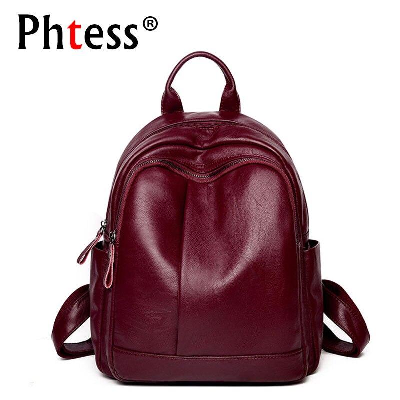 2019 Women Soft Leather Backpacks High Quality Vintage Bagpack Ladies Sac A Dos School Bags For Girls Female Travel Shoulder Bag