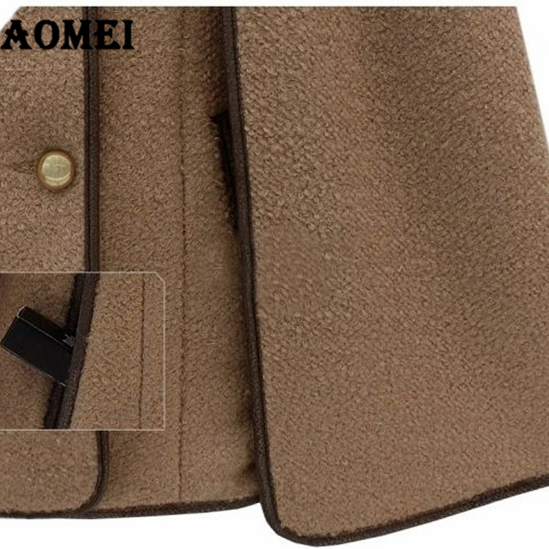 Пальто из кашемира для женщин, зима-осень, теплая шерстяная шапка со съемным меховым воротником, двойная кнопка, женская верхняя одежда, манто