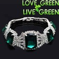free shipping quality sqaure big stone wedding bridal party rhinestone crystal bracelet silver plated green fashion jewelry 1114