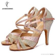 Женские кроссовки; Танцевальная обувь для джаза, сальсы, латинских танцев; квадратная танцевальная обувь; стразы; яркие цвета; JuseDanc