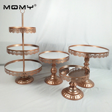 4 PCS/ Set New Lace Edge Wedding Decoration Crystal Pop 3 Tier Metal Cupcake Mirror Cake Stand
