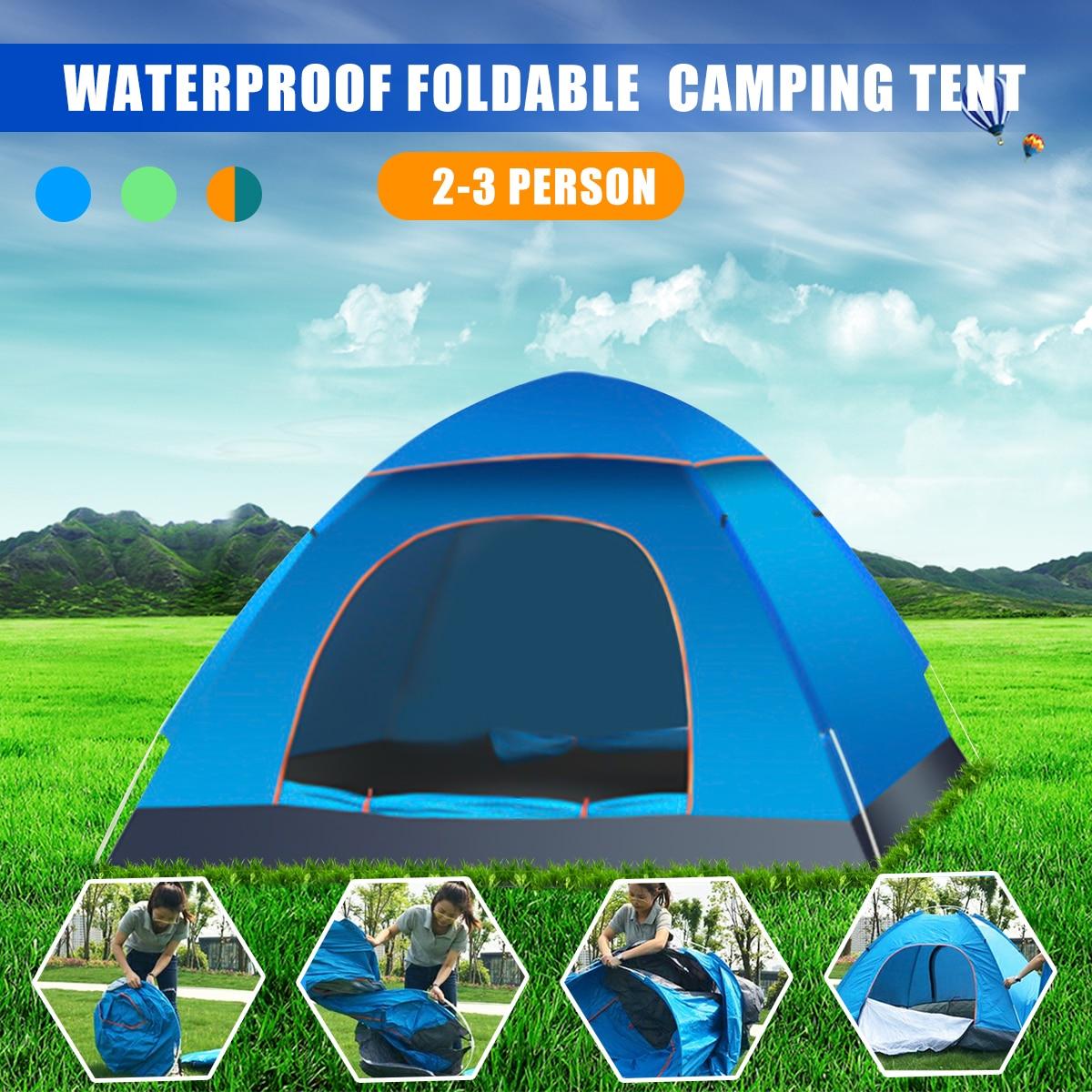 2-3 Person Wasserdichte Outdoor Faltbare Pop Up Öffnen Zelt Camping Wandern Strand Reise UV Schutz Sunshelter Wasserdichte Zelt