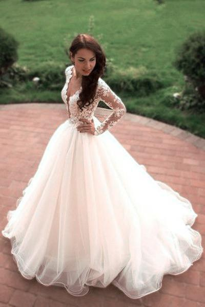 Boho Puffy Tulle Bridal Dress with Lace Long Sleeves Sheer Neck Ivory Wedding Dress robe de mariee