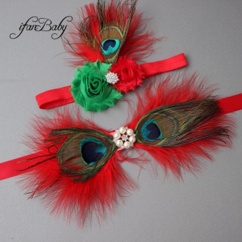 Fashion Chrisrmas flower Belt,Girl Woman Sash Belt Wedding Sashes belt  with feather flower headband 1 SET