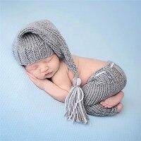 Nieuwe Top Verkoop Pasgeboren Baby Jongens Haak Knit Kostuum Foto Fotografie Prop Elf Beanie Hoed met Pocket Jarretel Set