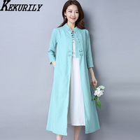 KEKURILY Women Cardigan Dress Elegant Vintage Long Shirt Dresses Chinese Style Tunic Suit Full Female Maxi