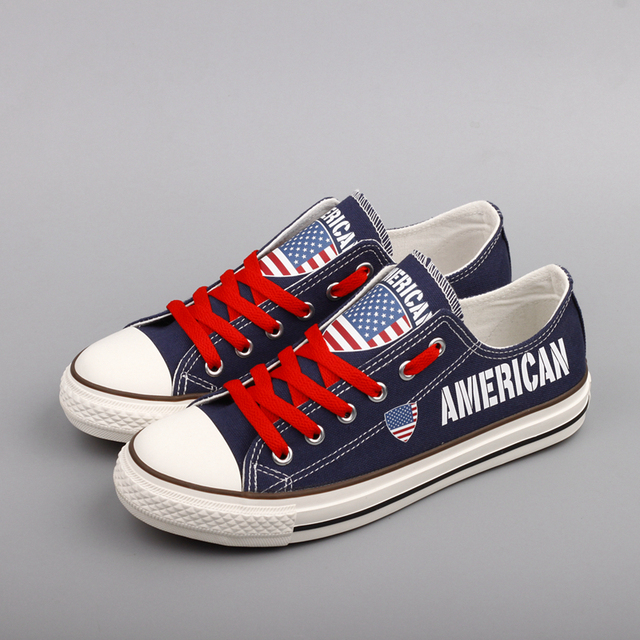 E-LOV Brand Fashion American Canvas Shoes Customized Printing USA Nation  Flat Walking Shoe Outdoor 3d782240b72