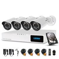 H View 720P Video Surveillance System 4CH CCTV Security Kit 4PCS 720P IR Weatherproof Outdoor Security