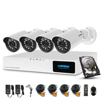 H.View 720P Video Surveillance System 4CH CCTV Security Kit 4PCS 720P IR Weatherproof Outdoor Security Camera with 1TB HDD