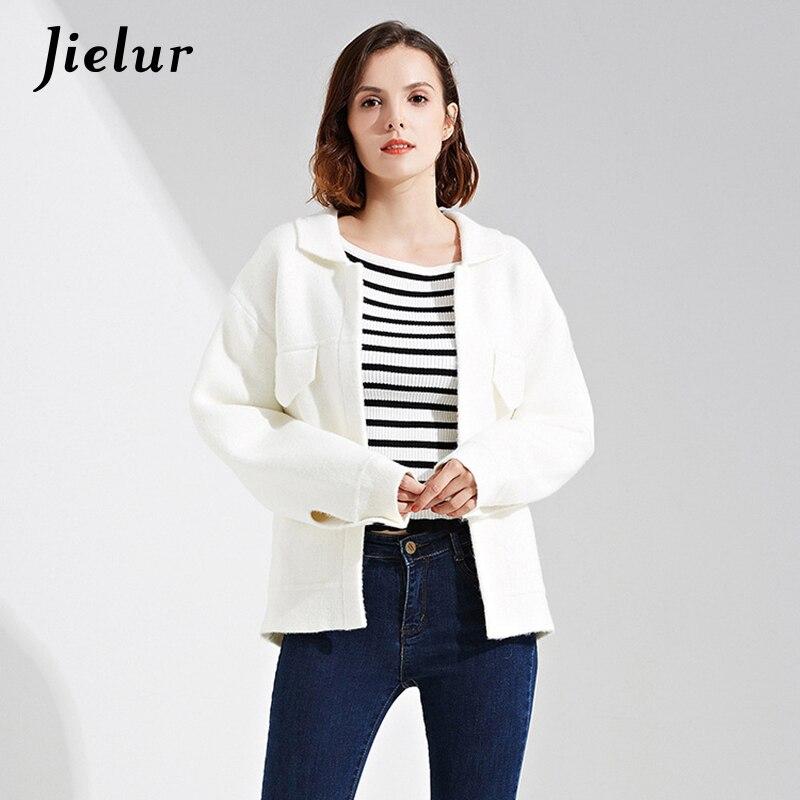 Jielur Europe Automne Hiver Mode Femme Cardigan Poches Couleur Unie Court Pulls pour Femmes Simple décontracté Tricoté Cardigans