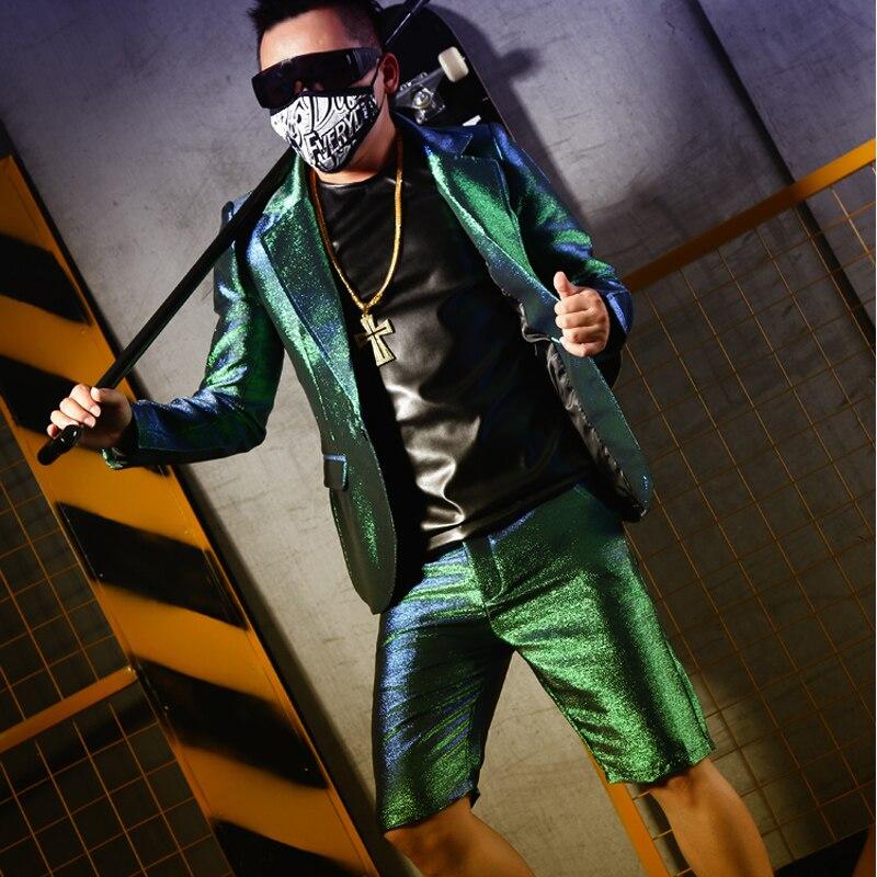 Gilet Costumes Vert Soie Et bar shorts waistcoat Bar Discothèque Armure Business Chanteur Cheveux Salon Costume M Suit Brillant 6xl Style YxqF0Zn07