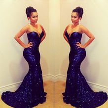New Arrival Sparkling Sweetheart Off Shoulder Sleeveless Mermaid Long Blue Sequined Prom Dresses 2015