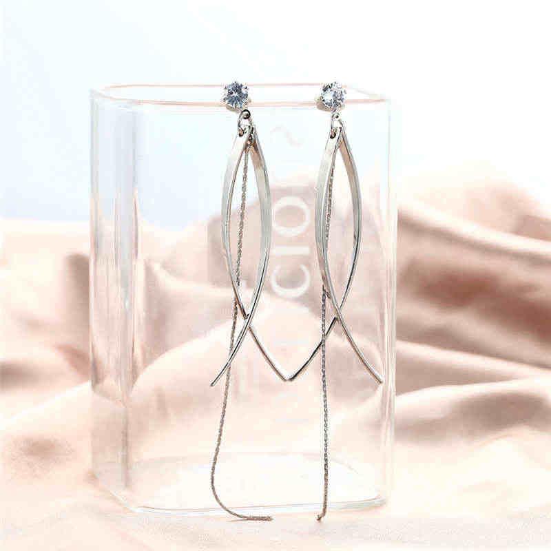 חדש אופנה עגילים לנשים Dlicated קוריאני סגנון מתנדנד עגילי זהב כסף צבע טאסל עגילי תכשיטים הסיטוניים