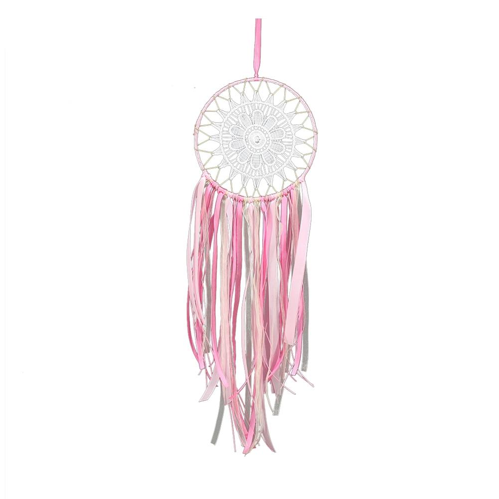 1Pcs Dream Catcher Car Hanging Decorations Pink Tassels Lace Flower Feather Dreamcatcher Home Wall Decor