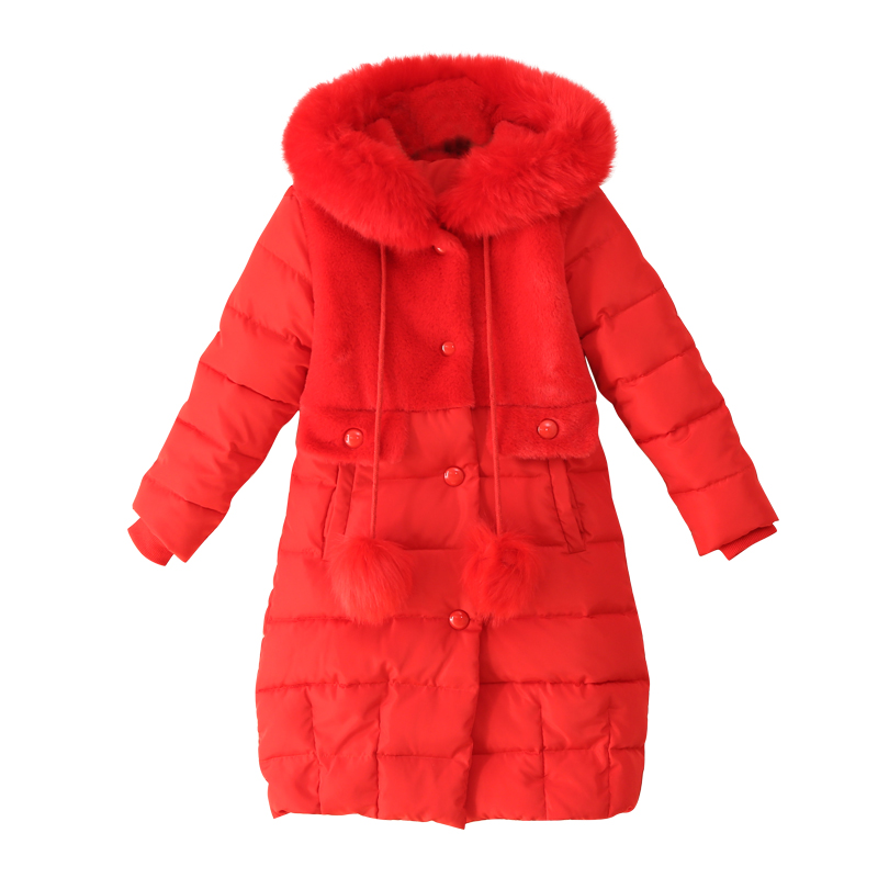 Hot 2018 New Winter Cotton Jackets Girls Fashion Fur Collar Coats Girl Thickening Faux Fur Hooded Warm Jacket Kids Clothes woman 2016fw woman fashion patch bomber jacket with faux fur collar warm qulited lining side pockets