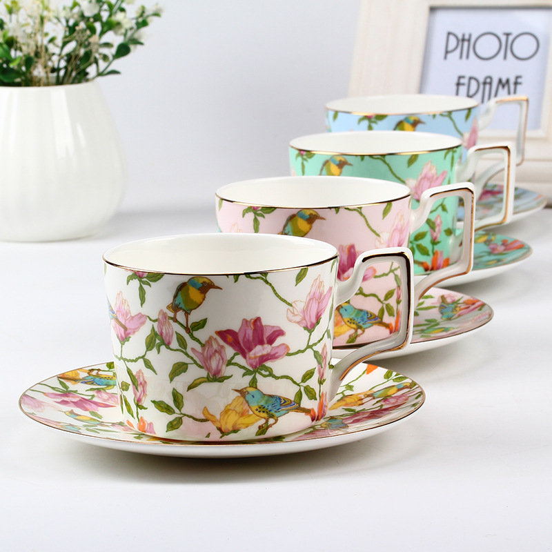 Exporting high grade 45% bone china coffee cups and saucers sets glaze flower ceramic coffee tea cups and saucers