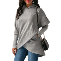 Fashion Autumn Winter Fleece Coat Pullovers Women Thick Loose Women Hooded Irregular Hem Sweatshirts Female Casual