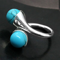 Wholesale Blue Turquoise BEAD GEMS 925 STERLING SILVER RING SIZE 7 8 9 10