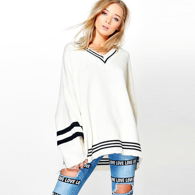 051cfd6cd White Womens V Neck Pullover Ladies Loose Oversized Jumper Jersey Sweater  Pulover Feminino Mujer Long Sleeve womanTops 70F093