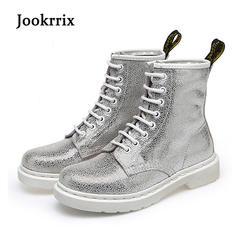 Jookrrix 2018 Spring Fashion Brand Boots Women Shoes for Lady Genuine Leather Boots White Martin Boots Breathable Silver Soft jookrrix autumn fashion boots women shoe metal decoration lady genuine leather zipper martin boot breathable black western style page 10