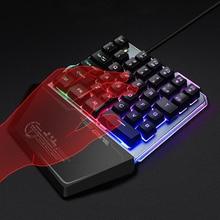 게임 키보드 PUBG LOL 모바일 게임을위한 한 손으로 키보드 왼손 작은 키보드 Dropship LED 백라이트 키보드