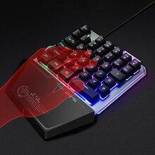 Teclado de jogo com uma mão, teclado para pubg lol, jogo móvel, mão esquerda, pequeno, dropship, led, luz de fundo, teclado