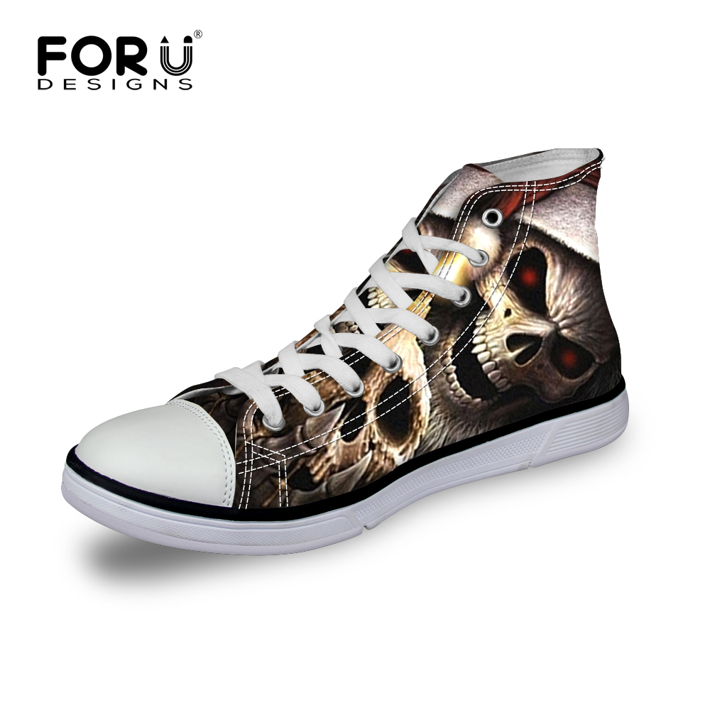 Bright Forudesigns Fashion Mens High Top Vulcanize Shoes Classic Male Lace-up Canvas Shoes For Man Cool Black Punk Skull Flat Shoes Shoes