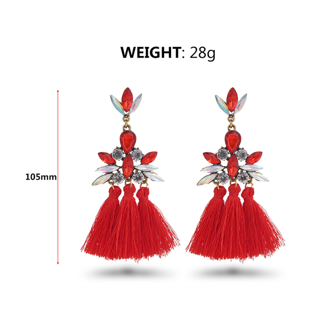 AE-CANFLY Luxury Brand Rhinestone Tassel Earring For Women Party Wedding Dangle Drop Earring brincos Fashion Ear Jewelry  2