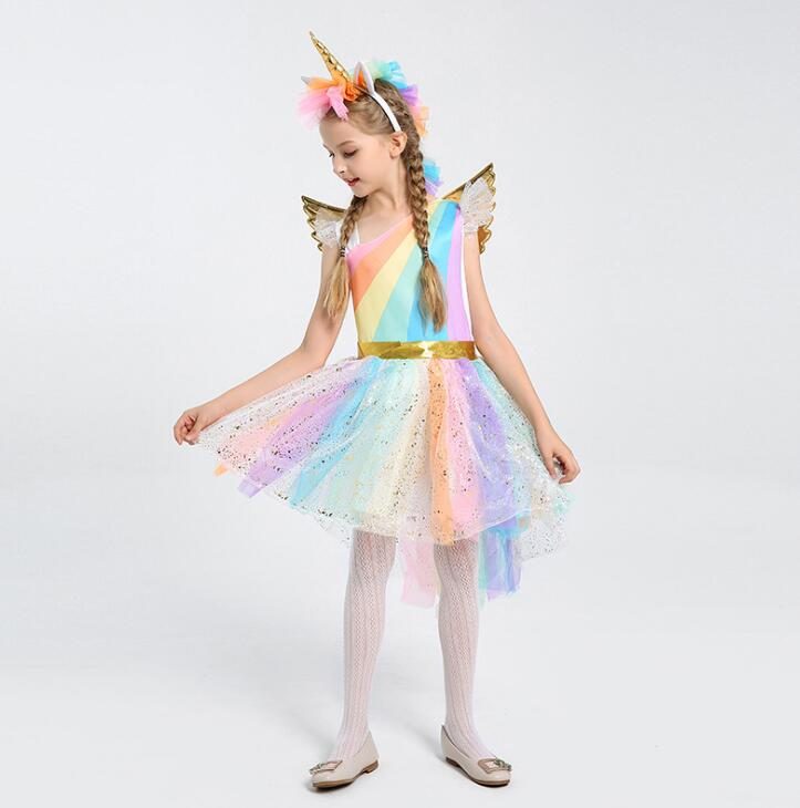 Girls Halloween Costumes Unicorn Costume Girls Dress Princess Birthday Party Girls Clothes Children Kids Dresses for Girls 3 PCS fashion christmas dress girls party accessories children s halloween costumes for girls party dress kids cute birthday dresses