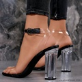 2017 New Summer PVC Women Sandals Clear Transparent Ankle Strap Ladies Perspex High Heels Plus Size Sexy Party Shoes XJ296