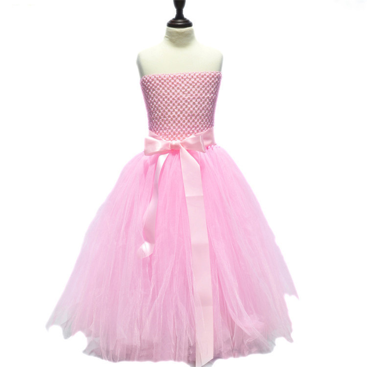 kids clothes girls 2 to 9 years tulle tutu princess pink flower dresses girl bow ribbon for party wedding dress free shipping retail baby girls princess wedding party flower sleeveless dress kids girl bow tutu lace tulle girl dresses free shipping l 608
