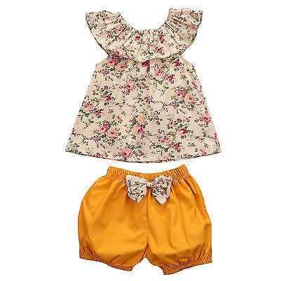 Helen115 Pretty Baby Kid Обувь для девочек летние цветочные печатных рукавов футболка + Шорты для женщин 2 предмета в комплекте 0-3years