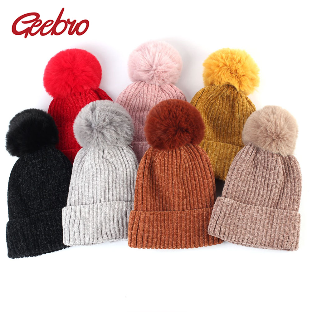 Geebro 2 To 8 Years Old Kids Knitted Beanie Hat With Faux Fur Pompom Winter Rabbit Fur Slouchy Beanies With Pompon For Girls