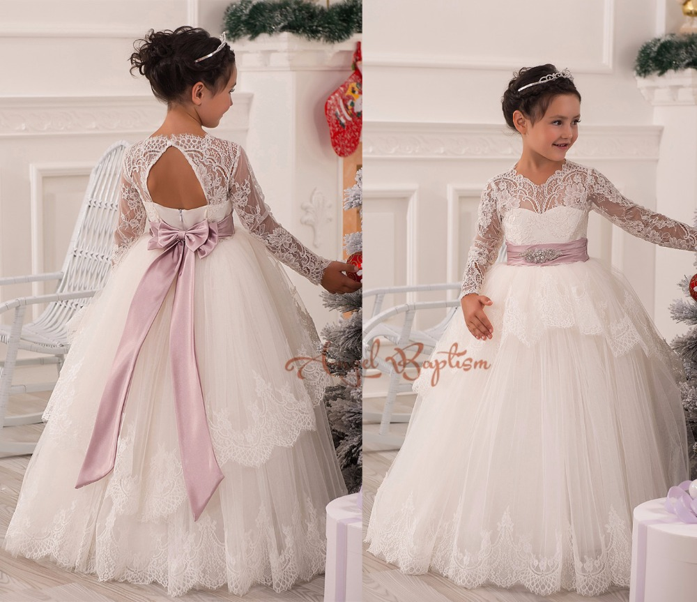 2016 Lace Flower Girl Dresses 1-12 junior kid glitz years Ball Gowns the first communion dresses for girls pageant dresses 2016 one shoulder ball gowns first communion dress flower girl dresses junior kid glitz pageant dress for wedding and party