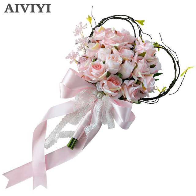 Foreign trade excellent creative rattan heart shaped bouquets ...