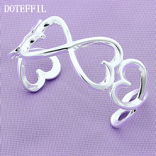 2017 Hot Silver Cute Fashion Bracelet Bangles Heart Women Charm 925 Silver Bracelet Bangles Jewelry lukeni top quality silver 925 bangles for women jewelry charm crystal pink flower girl bracelet lady party accessories fashion