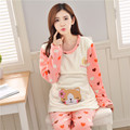 2017 Pregnant women pajamas coral flannel month of autumn and winter thickening paragraph breast-feeding fashion pajamas