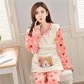 2017 las mujeres Embarazadas pijamas de franela coral meses de otoño e invierno engrosamiento párrafo lactancia pijamas de moda