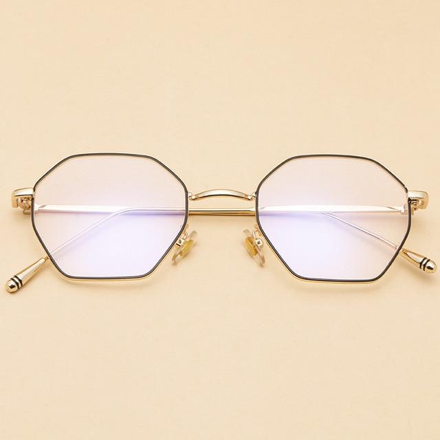 a201d9a19fb Cubojue Hexagon Glasses Women Men Small Eyeglasses Frames Transparent Clear  Lens Spectacles for Diopter Prescription Vintage