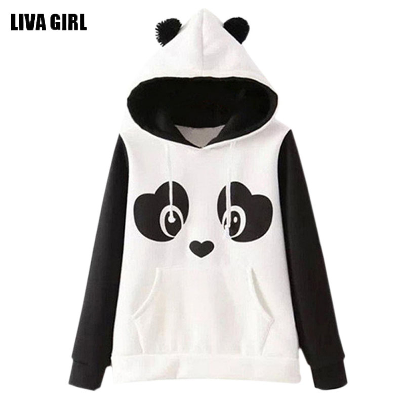 2017 Europe Hippie Style Kawaii Hoodies Cute Panda Cartoon Printed Sweatshirts With Ears Women Hoody Casual Cute hoodies moletom