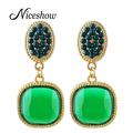 Hot Selling Clip-on Earrings Blue Red Yellow Purple Green Acrylic Square Party Clip Earrings New Brincos For Women