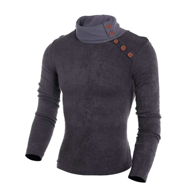 Turtle Neck Men Clothes 2018 Winter Korean Clothes Button Decoration Long Sleeve Knitting Tops Casual Pullover Sweaters For Men
