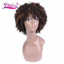 Lydia Afro Kinky къдрава перуки кратко синтетични смесени кафяви жени перуки kanekalon топлина устойчиви афро-американски природа
