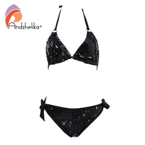 Image 4 - Andzhelika 2020 New Bikini Double sided Sequin Bikini Set Women Sexy Brazilian Swimsuit Beach Swimwear Bathing Suit Biquini