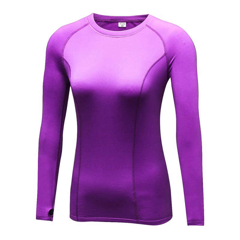 Womens Long Sleeve Quick-Dry Sports T-shirt Yoga Gym Fitness Running Base Layer