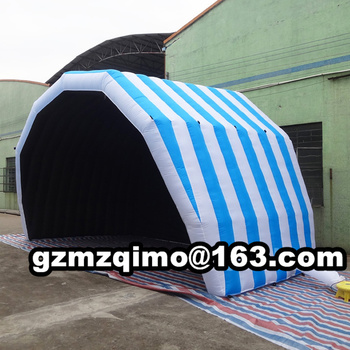 Custom 4.5mWx3mHx3mD light grey white inflatable stage tent oxford cloth canopy cover